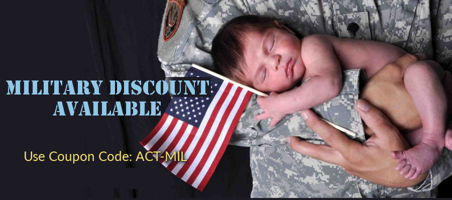 """Use coupon code """"ACT-MIL"""" for military discount"""