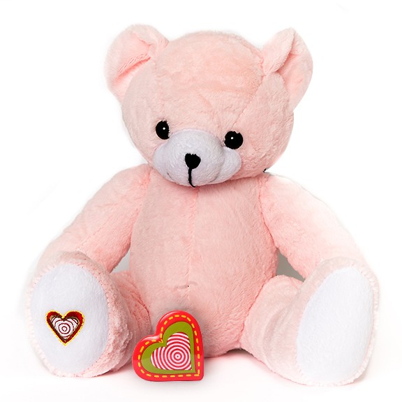 Pink Stuffed Heatbeat Bear - Pink Bear